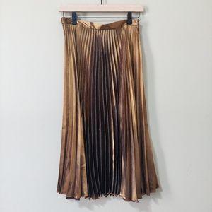 Top Shop Copper Accordian Pleat Skirt